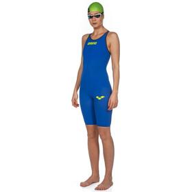 arena Powerskin Carbon Air 2 Combinaison courte fermée dans le dos Femme, electric blue/grey/yellow